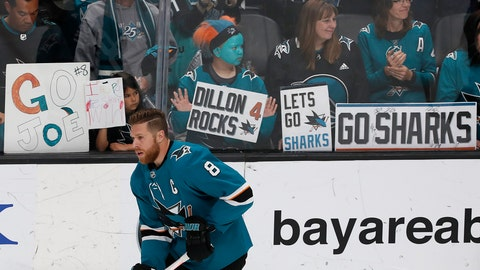 <p>               San Jose Sharks center Joe Pavelski (8) skates during warmups before Game 7 of an NHL hockey second-round playoff series between the Sharks and the Colorado Avalanche in San Jose, Calif., Wednesday, May 8, 2019. (AP Photo/Josie Lepe)             </p>