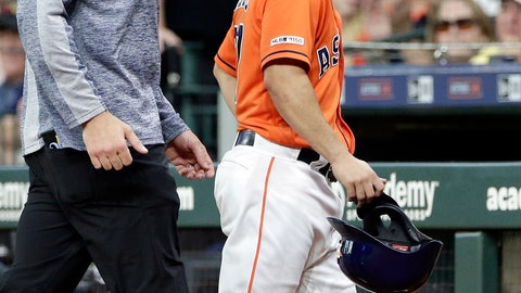 <p>               Houston Astros Jose Altuve, right, leaves the game with an injury after his single during the first inning of a baseball game against the Texas Rangers on Friday, May 10, 2019, in Houston. (AP Photo/Michael Wyke)             </p>
