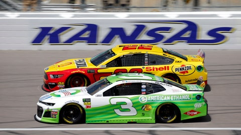 <p>               Drivers Joey Logano (22) and Austin Dillon (3) practice for the NASCAR Cup Series auto race at Kansas Speedway in Kansas City, Kan., Friday, May 10, 2019. (AP Photo/Colin E. Braley)             </p>