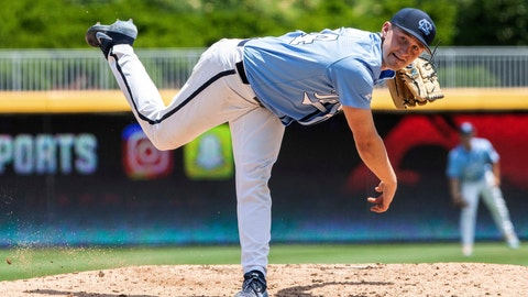 <p>               North Carolina's Hansen Butler (24) pitches during the ACC NCAA  college baseball championship game against Georgia Tech, in Durham, N.C., Sunday, May 26, 2019. (AP Photo/Ben McKeown)             </p>