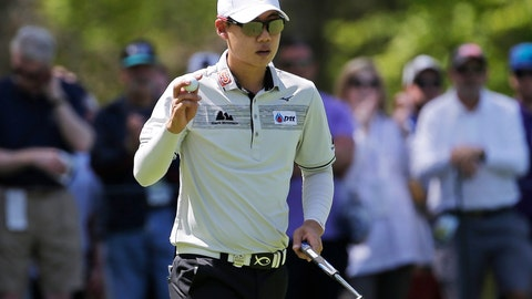 <p>               Jazz Janewattananond, of Thailand, reacts after sinking a putt for birdie on the third green during the third round of the PGA Championship golf tournament, Saturday, May 18, 2019, at Bethpage Black in Farmingdale, N.Y. (AP Photo/Seth Wenig)             </p>