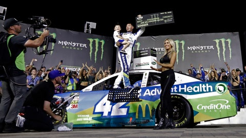 <p>               Kyle Larson celebrates in Victory Lane after winning the NASCAR All-Star Race at Charlotte Motor Speedway in Concord, N.C., Saturday, May 18, 2019. (AP Photo/Chuck Burton)             </p>