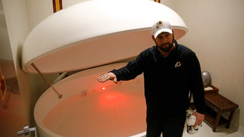 <p>               In this April 12, 2019, photo, Washington Redskins head athletic trainer Larry Hess demonstrates a salt water float orb inside a recovery room at the team's NFL football training facility in Ashburn, Va. With the use of state-of-the-art machines and techniques, the Redskins hope to cut down on injuries after leading the NFL in players on injured reserve last season. (AP Photo/Patrick Semansky)             </p>