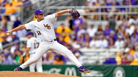 <p>               LSU starting pitcher Landon Marceaux throws during Game 2 of the NCAA college baseball regional against Stony Brook, Friday, May 31, 2019, in Baton Rouge, La. (Hilary Scheinuk/The Advocate via AP)             </p>