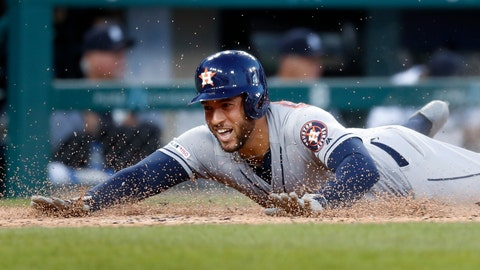 <p>               Houston Astros' George Springer slides safely into home plate for an inside-the-park home run during the fifth inning of the team's baseball game against the Detroit Tigers in Detroit, Tuesday, May 14, 2019. (AP Photo/Paul Sancya)             </p>