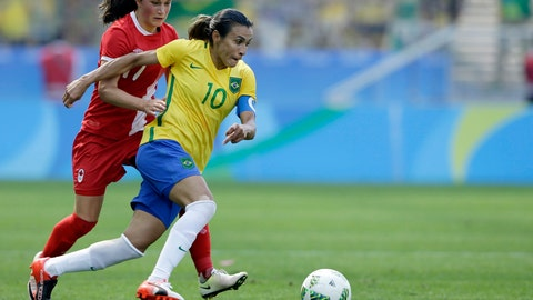<p>               FILE - In this Aug. 19, 2016, file photo, Brazil's Marta, left, dribbles past Canada's Jessie Fleming during the bronze medal women' soccer match at the summer Olympic's at the Arena Corinthians stadium in Sao Paulo. (AP Photo/Nelson Antoine, File)             </p>