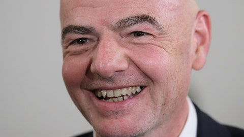 <p>               FIFA President Gianni Infantino smiles during an awarding ceremony in the Kremlin in Moscow, Russia, Thursday, May 23, 2019. Putin awarded FIFA President Gianni Infantino with the Order of Friendship and praised the World Cup that Russia hosted last year as the best ever. (Evgenia Novozhenina/Pool Photo via AP)             </p>