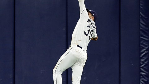 <p>               Tampa Bay Rays center fielder Kevin Kiermaier makes a leaping catch on a flyout by Arizona Diamondbacks' Carson Kelly during the fifth inning of a baseball game, Tuesday, May 7, 2019, in St. Petersburg, Fla. (AP Photo/Chris O'Meara)             </p>