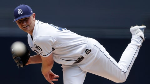 <p>               San Diego Padres starting pitcher Eric Lauer works against an Arizona Diamondbacks batter during the first inning of a baseball game Wednesday, May 22, 2019, in San Diego. (AP Photo/Gregory Bull)             </p>