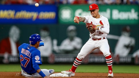 <p>               St. Louis Cardinals second baseman Kolten Wong (16) turns a double play over Chicago Cubs' Addison Russell during the fourth inning of a baseball game Friday, May 31, 2019, in St. Louis. Albert Almora was out at first. (AP Photo/Scott Kane)             </p>