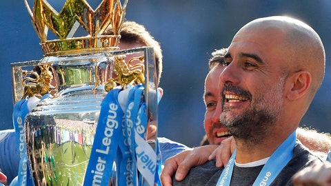 <p>               Manchester City coach Pep Guardiola lifts the English Premier League trophy after the English Premier League soccer match between Brighton and Manchester City at the AMEX Stadium in Brighton, England, Sunday, May 12, 2019. Manchester City defeated Brighton 4-1 to win the championship. (AP Photo/Frank Augstein)             </p>