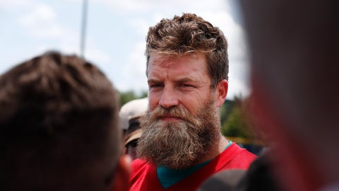 <p>               Miami Dolphins quarterback Ryan Fitzpatrick (14) speaks to the media after NFL football practice on Tuesday, May 14, 2019, in Davie, Fla. (AP Photo/Brynn Anderson)             </p>