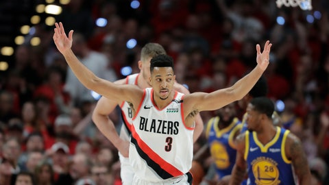 <p>               Portland Trail Blazers guard CJ McCollum (3) reacts after a play against the Golden State Warriors during the first half of Game 4 of the NBA basketball playoffs Western Conference finals, Monday, May 20, 2019, in Portland, Ore. (AP Photo/Ted S. Warren)             </p>