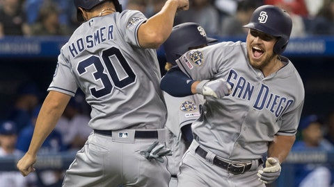 <p>               San Diego Padres' Hunter Renfroe celebrates with Eric Hosmer after Renfroe hit a three-run home run against the Toronto Blue Jays during the eighth inning of a baseball game Friday, May 24, 2019, in Toronto. (Fred Thornhill/The Canadian Press via AP)             </p>