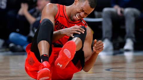 <p>               Portland Trail Blazers guard Rodney Hood reacts after being injured in the second half of Game 7 of an NBA basketball second-round playoff series against the Denver Nuggets Sunday, May 12, 2019, in Denver. (AP Photo/John Leyba)             </p>
