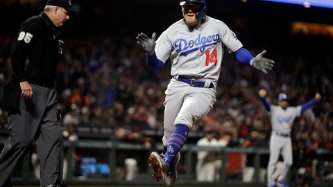 <p>               Los Angeles Dodgers' Enrique Hernandez (14) celebrates as he scores against the San Francisco Giants during the sixth inning of a baseball game Wednesday, May 1, 2019, in San Francisco. Hernandez scored on a base hit by Cody Bellinger. (AP Photo/Ben Margot)             </p>
