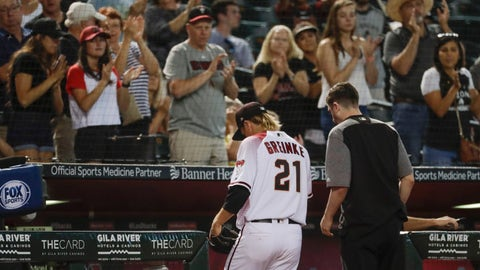 <p>               Arizona Diamondbacks starting pitcher Zack Greinke leaves the field with a trainer during the eighth inning of a baseball game against the Pittsburgh Pirates in Phoenix, Wednesday, May 15, 2019. (AP Photo/Matt York)             </p>