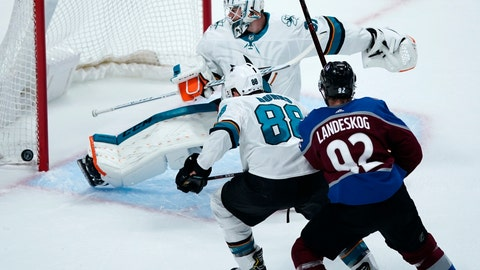 <p>               San Jose Sharks goaltender Martin Jones, back, makes a kick-save of a shot as defenseman Brent Burns, center, and Colorado Avalanche left wing Gabriel Landeskog pursue the puck in the first period of Game 6 of an NHL hockey second-round playoff series Monday, May 6, 2019, in Denver. (AP Photo/Jack Dempsey)             </p>