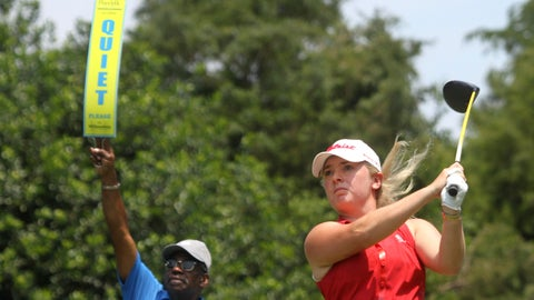 <p>               Bronte Law tees off on the ninth hole during the LPGA Tour golf tournament at Kingsmill Resort, Thursday, May 23, 2019, in Williamsburg, Va. (Sarah Holm/The Daily Press via AP)             </p>