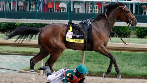 <p>               Manny Franco loses Positive Spirit during the 145th running of the Kentucky Oaks horse race at Churchill Downs Friday, May 3, 2019, in Louisville, Ky. (AP Photo/John Minchillo)             </p>