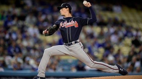 <p>               Atlanta Braves starting pitcher Max Fried throws to the plate during the first inning of a baseball game against the Los Angeles Dodgers, Tuesday, May 7, 2019, in Los Angeles. (AP Photo/Mark J. Terrill)             </p>