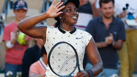 <p>               Sloane Stephens of the U.S. celebrates winning her their third round match of the French Open tennis tournament against Slovenia's Polona Hercog in three sets 6-3, 5-7, 6-4, at the Roland Garros stadium in Paris, Friday, May 31, 2019. (AP Photo/Pavel Golovkin)             </p>