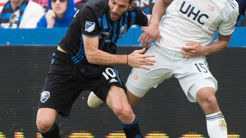 <p>               Montreal Impact's Ignacio Piatti, left, shields the ball from New England Revolution's Brandon Bye (15) during the second half of an MLS soccer game in Montreal, Saturday, May 18, 2019. (Graham Hughes/The Canadian Press via AP)             </p>