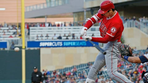 <p>               Los Angeles Angels' Shohei Ohtani, of Japan, swings at an incoming pitch for a two-run home run off Minnesota Twins pitcher Jose Berrios in the third inning of a baseball game Monday, May 13, 2019, in Minneapolis. (AP Photo/Jim Mone)             </p>