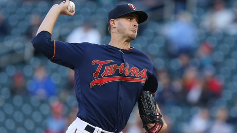 <p>               Minnesota Twins pitcher Jake Odorizzi throws to a Detroit Tigers batter during the first inning of a baseball game Friday, May 10, 2019, in Minneapolis. (AP Photo/Stacy Bengs)             </p>