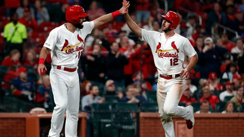 <p>               St. Louis Cardinals' Matt Carpenter and Paul DeJong (12) celebrate after scoring on a three-run double by Marcell Ozuna during the sixth inning of a baseball game against the Pittsburgh Pirates on Thursday, May 9, 2019, in St. Louis. (AP Photo/Jeff Roberson)             </p>