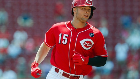 <p>               Cincinnati Reds' Nick Senzel runs the bases after hitting a home run off San Francisco Giants starting pitcher Drew Pomeranz in the first inning of a baseball game, Monday, May 6, 2019, in Cincinnati. (AP Photo/John Minchillo)             </p>