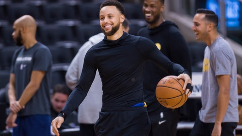 <p>               Golden State Warriors guard Stephen Curry smiles during practice for the NBA Finals against the Toronto Raptors in Toronto, Wednesday, May 29, 2019. Game 1 of the NBA Finals is Thursday in Toronto. (Nathan Denette/The Canadian Press via AP)             </p>