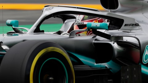 <p>               Mercedes driver Lewis Hamilton of Britain steers his car during the third free practice at the Barcelona Catalunya racetrack in Montmelo, just outside Barcelona, Spain, Saturday, May 11, 2019. The Formula One race will take place on Sunday. (AP Photo/Manu Fernandez)             </p>
