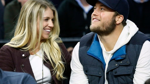 <p>               FILE - In this Nov. 17, 2015, file photo, Detroit Lions quarterback Matthew Stafford and his wife Kelly smile while watching the Detroit Pistons play the Cleveland Cavaliers during an NBA basketball game, in Auburn Hills, Mich. Matthew is juggling his job on the field and his role as a husband and father as his wife, Kelly, recovers from surgery to remove a brain tumor. (AP Photo/Duane Burleson, File)             </p>