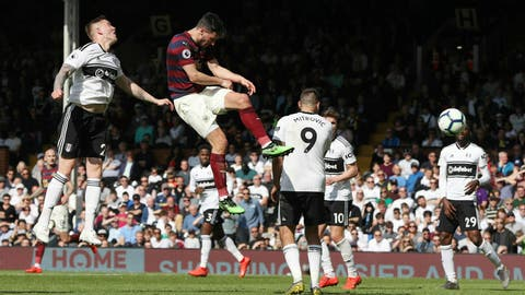 <p>               Newcastle United's Fabian Schar, center left, heads in his side's third goal during the English Premier League soccer match between Fulham and Newcastle United at the Craven Cottage stadium, London. Sunday May 12, 2019 (Jonathan Brady/PA via AP)             </p>