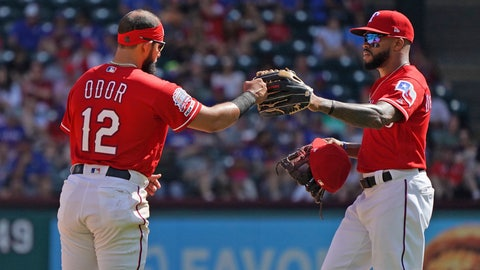 <p>               Texas Rangers' Rougned Odor (12) is congratulated by teammate Delino DeShields, right, after singling in a run in the fifth inning against the Toronto Blue Jays during a baseball game in Arlington, Texas, Sunday, May 5, 2019. (AP Photo/ Louis DeLuca)             </p>