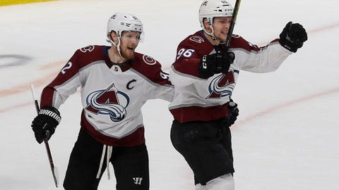 <p>               Colorado Avalanche right wing Mikko Rantanen, right, celebrates with left wing Gabriel Landeskog after scoring a goal against the San Jose Sharks during the first period of Game 7 of an NHL hockey second-round playoff series in San Jose, Calif., Wednesday, May 8, 2019. (AP Photo/Jeff Chiu)             </p>