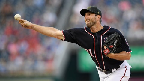 <p>               Washington Nationals starting pitcher Max Scherzer delivers during the first inning of a baseball game against the Chicago Cubs, Friday, May 17, 2019, in Washington. (AP Photo/Nick Wass)             </p>