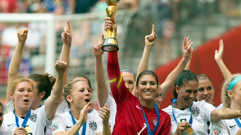 <p>               FILE - In this July 5, 2015, file photo, United States goalkeeper Hope Solo hoists the trophy as she and her teammates celebrate defeating Japan to win the FIFA Women's World Cup soccer championship in Vancouver, British Columbia, Canada. Solo was in goal four years ago in Canada when the United States won soccer's most prestigious tournament. She has no regrets about her acrimonious breakup with the team, which will seek to defend its title at the Women's World Cup in France.  (Darryl Dyck/The Canadian Press via AP)             </p>