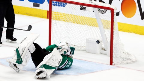 <p>               CORRECTS THAT STARS GOALTENDER BISHOP IS LAYING ON THE ICE AS A SHOT BY SCHWARTZ SCORES. DELETES REFERENCE TO BISHOP BEING HIT BY THE PUCK - A shot by St. Louis Blues' Jaden Schwartz scores as Dallas Stars goaltender Ben Bishop lies on the ice  after being injured during the third period in Game 6 of an NHL second-round hockey playoff series, Sunday, May 5, 2019, in Dallas. (AP Photo/Tony Gutierrez)             </p>