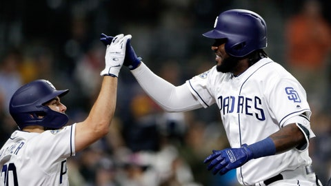 <p>               San Diego Padres' Franmil Reyes, right, celebrates with teammate Eric Hosmer, left, after hitting a two-run home run during the sixth inning of a baseball game against the Arizona Diamondbacks, Monday, May 20, 2019, in San Diego. (AP Photo/Gregory Bull)             </p>