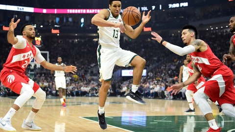 <p>               Milwaukee Bucks guard Malcolm Brogdon (13) loses the ball as Toronto Raptors forward Norman Powell (24) and guard Danny Green (14) defend during the first half of Game 5 of the NBA basketball playoffs Eastern Conference finals in Milwaukee on Thursday, May 23, 2019. (Frank Gunn/The Canadian Press via AP)             </p>