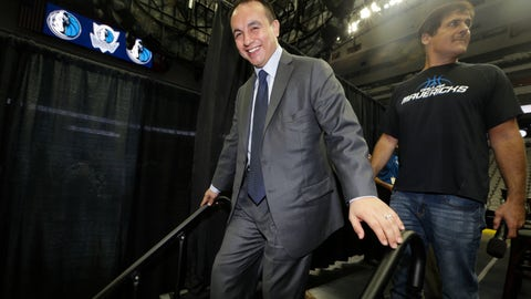<p>               FILE - In this Aug. 15, 2013, file photo, Dallas Mavericks general manager Gersson Rosas walks off the stage after an NBA basketball news conference in Dallas. A person with knowledge of the process tells The Associated Press that the Minnesota Timberwolves have decided to hire Rosas as president of basketball operations. The person spoke on condition of anonymity Wednesday, May 1, because the team had yet to announce the hire of Rosas, who has been a finalist for the top job with several other NBA teams. He had a three-month stint as general manager of the Mavericks in 2013, before resigning and returning to the Rockets, (AP Photo/LM Otero, File)             </p>