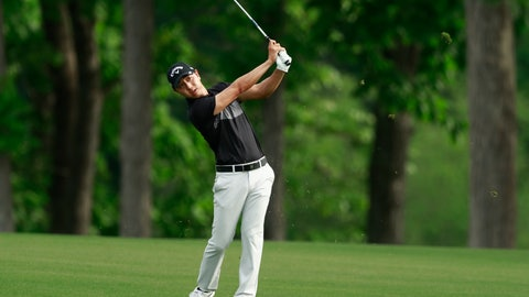 <p>               Sangmoon Bae, of South Korea, watches his shot on the 16th hole during the first round of the Wells Fargo Championship golf tournament at Quail Hollow Club in Charlotte, N.C., Thursday, May 2, 2019. (AP Photo/Jason E. Miczek)             </p>