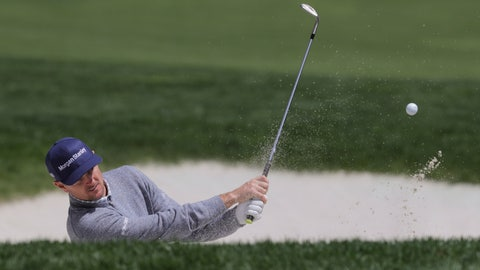 <p>               Justin Rose, of England, hits out of a bunker on the ninth hole during a practice round for the PGA Championship golf tournament, Wednesday, May 15, 2019, at Bethpage Black in Farmingdale, N.Y. (AP Photo/Charles Krupa)             </p>