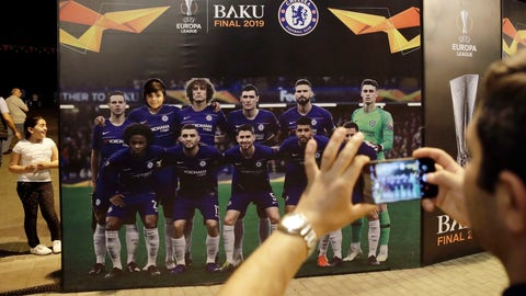 <p>               Tourists take pictures in at the fan zone in Baku, Azerbaijan, Tuesday May 28, 2019. English Premier League teams Arsenal and Chelsea are preparing for the Europa League Final soccer match that takes place in Baku on Wednesday night. (AP Photo/ Luca Bruno)             </p>