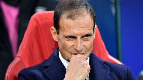 """<p>               FILE - In this Wednesday, April 10, 2019 filer, Juventus coach Massimiliano Allegri stands on the touchline before the Champions League quarterfinal, first leg, soccer match between Ajax and Juventus at the Johan Cruyff ArenA in Amsterdam, Netherlands.  Juventus has announced that coach Massimiliano Allegri is leaving at the end of the season. A brief club statement says, """"Massimiliano Allegri will not be on the Juventus bench for the 2019/2020 season,"""" adding that Allegri and Juventus president Andrea Agnelli will hold a joint press conference on Saturday. (AP Photo/Martin Meissner, File)             </p>"""