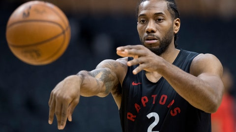 <p>               Toronto Raptors' Kawhi Leonard passes during practice for the NBA Finals in Toronto on Wednesday, May 29, 2019. Game 1 of the NBA Finals between the Raptors and Golden State Warriors is Thursday in Toronto. (Frank Gunn/The Canadian Press via AP)             </p>