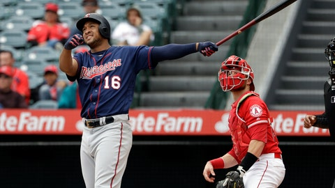 <p>               Minnesota Twins' Jonathan Schoop follows the path of his three-run home run against the Los Angeles Angels during the second inning of a baseball game Thursday, May 23, 2019, in Anaheim, Calif. (AP Photo/Marcio Jose Sanchez)             </p>