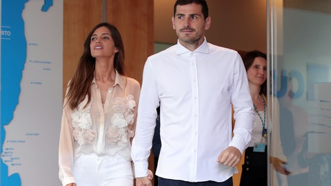 <p>               Spanish goalkeeper Iker Casillas, with his wife Sara Carbonero, leaves a hospital in Porto, Portugal, Monday, May 6, 2019. Veteran goalkeeper Iker Casillas had a heart attack during a training session with his Portuguese club FC Porto and was hospitalized May 1. (AP Photo/Luis Vieira)             </p>
